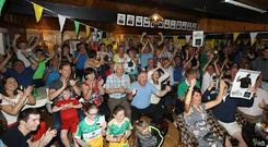 Supporters at Shane Lowry's home golf club, Esker Hills (Lorraine O'Sullivan/PA)