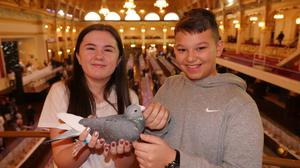 Keelie and Aaryan at a pigeon show in Blackpool