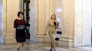 First Minister Arlene Foster, left, and Deputy First Minister Michelle O'Neill arrive at Stormont prior to announcing the Executive's approach to coronavirus decision-making (Liam McBurney/PA)