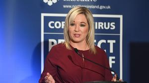 Deputy First Minister Michelle O'Neill during a Coronavirus media briefing in the Long Gallery at Parliament Buildings, Stormont, Belfast.