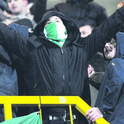 Riot police entered the Shamrock Rovers end during trouble at the game at Windsor park in Belfast