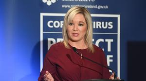 Deputy First Minister Michelle O'Neill during a daily Covid-19 briefing at Stormont (Colm Lenaghan/Pacemaker Press)