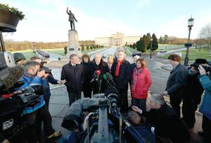 Sinn Fein's negotiating team, including Martin McGuinness and Gerry Adams, addressing the media outside Stormont last week