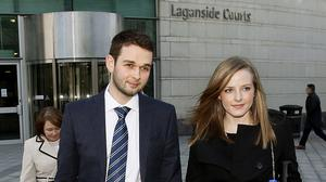 Daniel and Amy McArthur leave Belfast County Court, where Northern Ireland's Equality Commission is supporting a legal action against Ashers Bakery