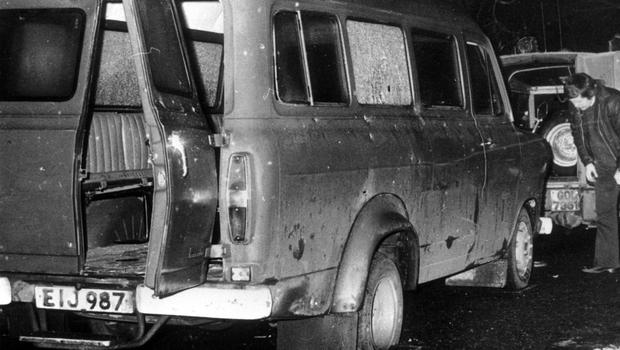 The bullet-riddled minibus in South Armagh where 10 Protestant workmen were shot dead by IRA terrorists in January 1976