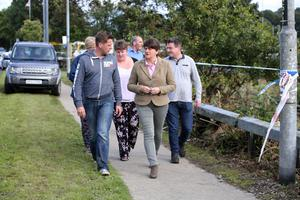 Arlene Foster meets some of the residents affected by the floods