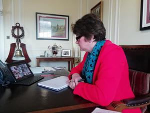 First Minister Arlene Foster during her conference call yesterday