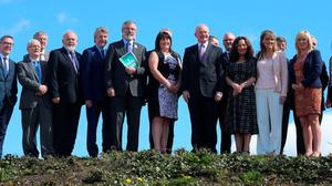 Sinn Fein President Gerry Adams (sixth from left) with the party's parliamentary candidates