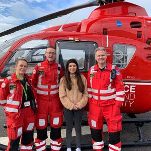 At the Air Ambulance NI base (from left) are HEMS paramedics Emma Boylan and Mike Patton, Ellie McDonnell and Dr Campbell Brown
