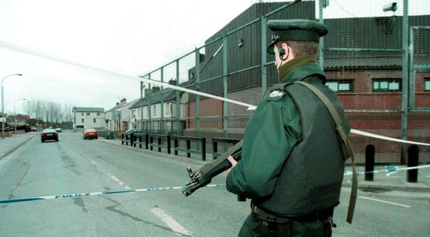 The scene of the bomb attack on Coalisland police station in 1997
