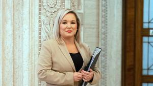 Deputy First Minister Michelle O'Neill at Stormont prior to announcing to the Northern Ireland Assembly, the Executive's approach to coronavirus decision-making.