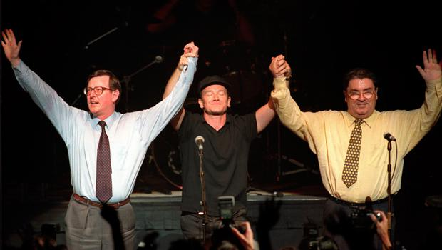 Bono with David Trimble and John Hume at concert to promote Yes vote for Good Friday Agreement referendum