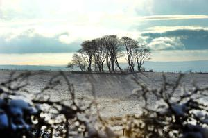 Snow lies on the hills in Glengormley