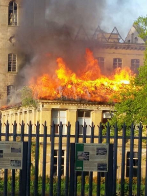 The fire at the Herdman's Mill building in Sion Mills