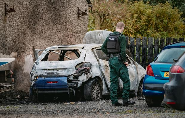 Police at the scene of an incident on Quarry Road in Gulladuff on October 12, 2021 (Photo by Kevin Scott for Belfast Telegraph)