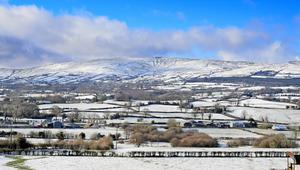 Snow-covered fields around Mid-Ulster and the Glenshane Pass