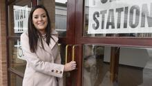 Sinn Fein candidate Orfhlaith Begley arrives to vote in Carrickmore yesterday