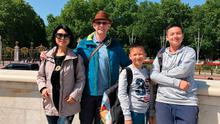 Stephen Graham, his wife Christina Wu and their sons Patrick and Clark