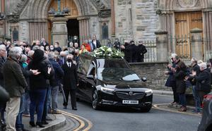 Family, friends and fans at his funeral in Omagh yesterday