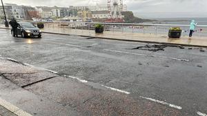 The damage on Portstewart Strand following flash flooding on Sunday. The road is expected to remain closed until Friday.