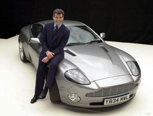 James Bond actor Pierce Brosnan with Aston Martin Vanquish used in Die Another Day