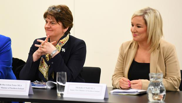 Northern Ireland First Minister Arlene Foster and Deputy First Minister Michelle O'Neill during a Joint Ministerial Committee meeting at the Welsh Government Offices in Cardiff (Tom Martin/Welsh Government/Crown Copyright/PA)