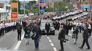 The funeral procession of senior Irish Republican and former leading IRA figure Bobby Storey following the funeral at St Agnes' Church in west Belfast. (Liam McBurney/PA)