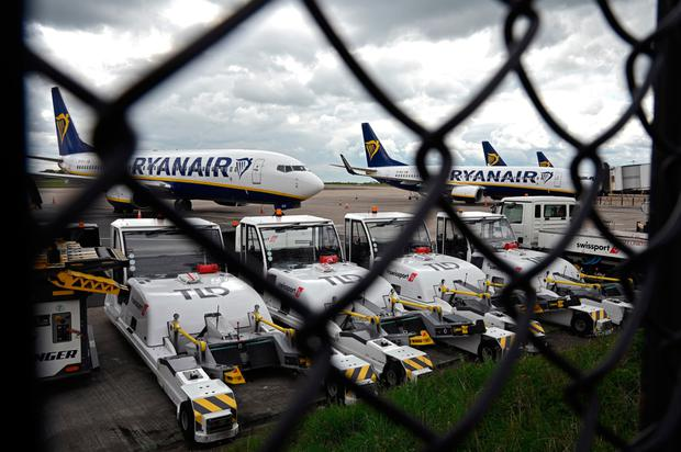 Grounded Ryanair planes
