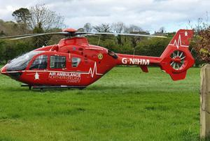 The air ambulance took the young girl to hospital