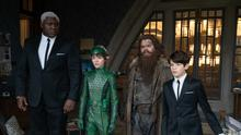 Nonso Anozie as Butler, Lara McDonnell as Holly Short, Josh Gad as Mulch Diggums and Ferdia Shaw as Artemis Fowl in scene from movie