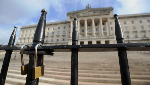 The locked gates at Stormont in Belfast (Niall Carson/PA)