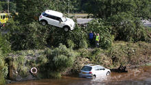 Cars stuck in the River Faughan
