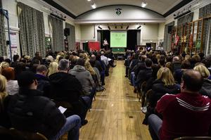 Concerned parents at a public meeting in Strandtown Primary School last night to discuss the new entry requirements