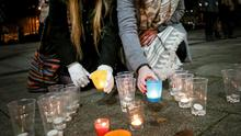 Maeve and Sarah Devlin at Writer's Square vigil last night