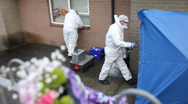Forensic officers examine the scene at Clounagh Park in Portadown