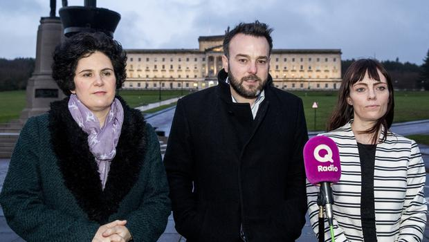 SDLP leader Colum Eastwood with party colleagues Claire Hanna (left) and Nicola Mallon (right) speaking with media at Carson Statue on the Stormont Estate after a meeting with the Northern Ireland Secretary of State Julian Smith at Stormont House. PRESS ASSOCIATION Photo. Picture date: Tuesday November 26, 2019. See PA story ULSTER Politics. Photo credit should read: Liam McBurney/PA Wire
