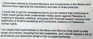 An excerpt from the letter Daire Hughes circulated around shops