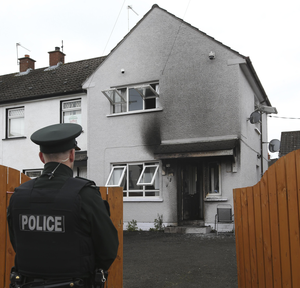 The home in Crumlin which was damaged in a petrol bomb attack