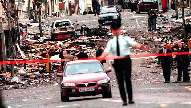 The aftermath of the Omagh bomb