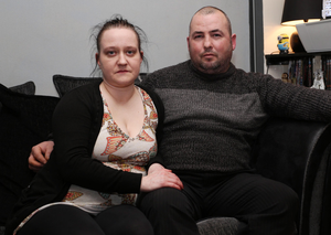Niall Coulter at home in Strabane with his wife Sharon