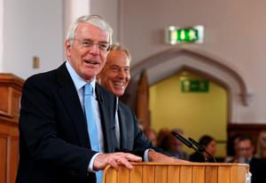 Sir John Major and Tony Blair sharing a platform and a joke for the Remain campaign at Magee College