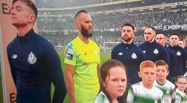 Alan Mannus during the Irish national anthem in Dublin at the weekend
