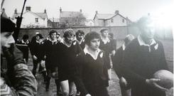 The All Blacks walking past soldiers at Ravenhill in 1972. According to rugby fans, the troops were simply there as enthusiastic spectators