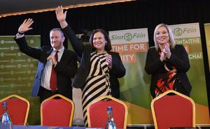 Sinn Fein president Mary Lou McDonald at the Canal Court Hotel in Newry with Michelle O'Neill and Conor Murphy on their 'Government for Change' public meeting tour