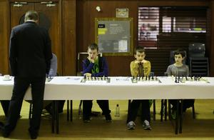 Nigel Short during the challenge against members of the Ulster Chess Union at RBAI in Belfast