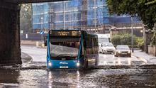 Traffic negotiates flash flooding at Queensway, Derriaghy