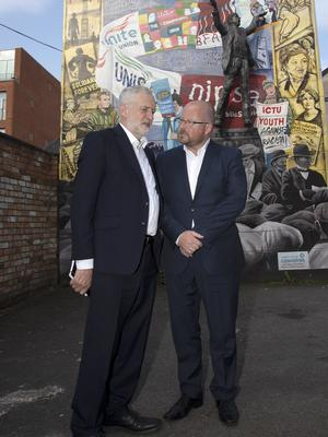 Jeremy Corbyn with Owen Reidy at the Belfast offices of the Irish Congress of Trade Unions