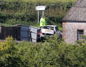 Police at the scene of a fatal accident on the Hiltonstown Road near Portglenone yesterday