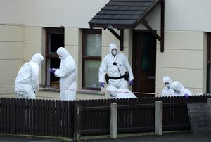 Forensics officers at the scene of two explosions at Brookfield Gardens, Ahoghill
