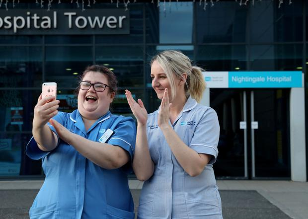Staff at Belfast's Mater Hospital join in the clapping